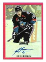 2016-17 Nick Merkley Leaf Metal Rooke Auto Red 2/3 - New Jersey Devils