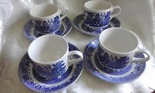 Set of 4 Odd Willow Tea Cup and Saucer Made in England Barrat's Staffordshire