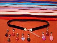 """Black 10mm Velvet Cord with Charm 13"""" Choker Necklace Pagan Gothic"""