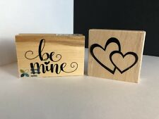 BE MINE Wood RUBBER STAMP & Double Hearts 02 Stamp ~  VALENTINE'S DAY New!