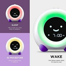 Alarm Clock Night Light Sleep Sounds Machine Children Trainer Bright Purple New