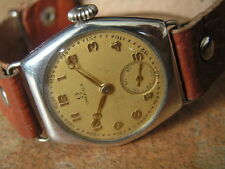 Vintage Overs OMEGA Sterling Silver Tonneau Gents Wrist Watch Orig. Cond. ca1931