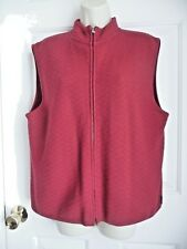 WOOLRICH XL Ladies Sweater Vest 100% Wool Knitted Ruby Red Full Zip Front