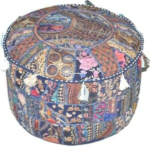"18"" Indien Round Patch Work Embroidered Ottoman Pouf, Ottoman Stool"