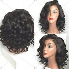 Black Short Wavy Curly Side Parting High Temperature Fiber Wig Hair