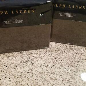 New Ralph Lauren 2 European Shams- MODERN ICONS WARREN Brown Cashmere Wool