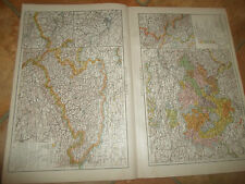Old Maps KINGDOM OF SAXONY & THURINGIAN STATES From Universal Atlas 1893