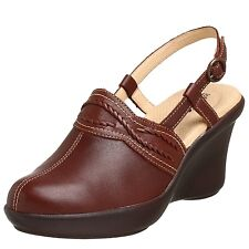 SoftWalk Padua Brown Leather Clogs Mules Size 7.5 9.5 N 9 W Heels Wedges Shoes