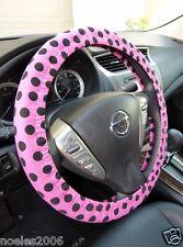 Handmade Steering Wheel Cover Pink with Black Polka Dots Rockabilly