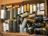Big Lot of vintage Capacitors - Lots of Can Capacitors Sprague Nichicon ChemiCon