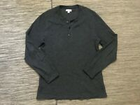 J Crew Adult Mens Large Thermal Henley Shirt Long Sleeve Gray Thick E0554