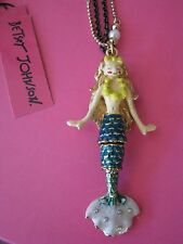 BETSEY JOHNSON HANGING NAUTICAL BOOST MERMAID PENDANT LONG NECKLACE~RARE~NWT