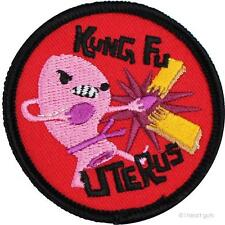 KUNG FU UTERUS EMBROIDERED IRON-ON ROUND PATCH I HEART GUTS/BADGE BOMB