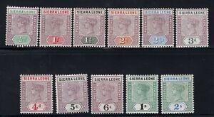 1896-97 Sierra Leone. SC#34-44, SG#41-51. Mint, Never/Lightly Hinged, FVF.