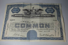 Briggs Manufacturing Company stock certificate for 12 shares