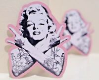 Marilyn Monroe tattoo punk rock hand horn sign gesture 6.5x8cm decal Sticker