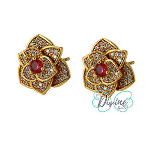 24K Women Flower CZ Stud Elegant Earrings. Clear Red CZ Color. Oro Laminado