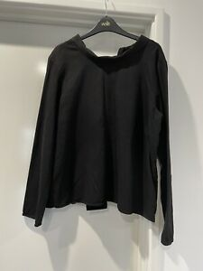 COS Stunning Long Sleeve Black Top EUR 44 Cotton Tie To Neckline At Back