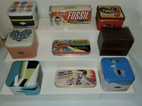 Fossil Brand Watch Tins variety of sizes Lot of 9 Empty Tins  v3493