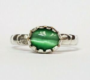 Sterling Silver Simulated Green Tigers Eye Ring Size 8