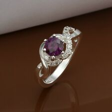 Fashion 925Sterling Solid Silver Jewelry Purple Crystal Flower Rings R323