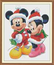 xmas mickey and minnie christmas CROSS STITCH CHART 12.0 x 9.8Inches