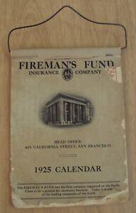 "VTG 1925 SAN FRANCISCO Hanging FLIP Wall CALENDAR~""FIREMAN'S FUND"""