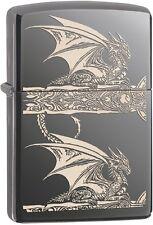 Zippo 2015 2016 Choice Catalog Dragon Side Print Black Ice Lighter 28961 NEW