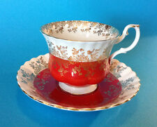 Royal Albert Pedestal Cup And Saucer - Regal Series - Red And Gold - England