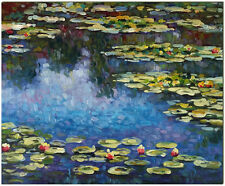 """Water Lilies - Hand Painted Claude Monet Oil Painting On Canvas Wall Art 20x16"""""""