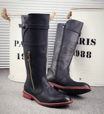 Cowboy Men Leather Riding Knee High Long Boots Motor Military Combat Shoes CHIC