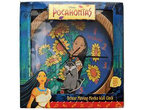 "Disney's Pocahontas Deluxe Moving Meeko Wall Clock Fantasma 11"" Round In Box"