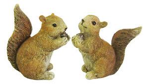 Squirrel Figurine - Reddish Squirrel holding Acorn Set/2