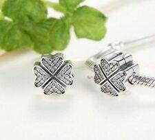 925 Silver Clover Petals of Love Lock Clip Stopper Charm 4 European bracelet