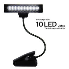 Rechargeable 10 LED Goose Neck Table Desk Computer Light Reading Lamp with Clip