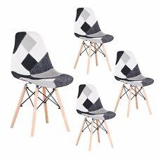 4er Set Esszimmerstühle Küchenstühle mit Holzbeinen Nordic Stuhle Patchwork Grau