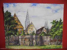 Ulm an der Donau Aquarell um 1920 mit Münster im Hintergrund tolle Qualität