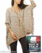 Susana Fringed Sleeve Boho Style Open Knit Relaxed Cape *Made in Italy* IA-0461