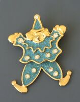 Vintage Clown with movable legs brooch in enamel & gold tone metal