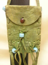 Vintage Western Style Small Pouch Coin Purse Soft Leather Glass Beads