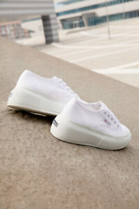 Superga Women's 2287-LEANAPPAW Leather Lace Up Trainer White RRP:£107.99 UK 4