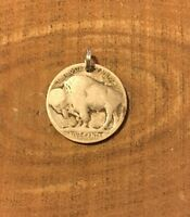Buffalo Indian Head Nickel Coin Jewelry Pendant Charm-Vintage Antique-Reverse!