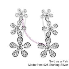 Sterling Silver & CZ Pretty Daisy Long Cuff Earrings - Ear Vines & Ear Climbers