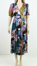 Monsoon Multi Floral Print Flare Draped Cocktail Midi Long Dress UK 6 to 22 £110