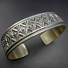 Navajo SUNSHINE REEVES Hand-Stamped Sterling Silver Cuff BRACELET 32.8g