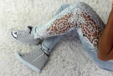 Sneakers  WEDGE HIGH TOP SNEAKERS TRAINERS++++ SILVER)_)_)_)_*+*+*+}+}