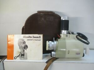 VINTAGE MINOLTA ZOOM 8 FILM MOVIE CAMERA WITH  MANUAL AND LEATHER CASE
