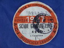 BOLLO 1967 ACI TASSA CIRCOLAZIONE MOTOCICLI LEGGERI VESPA SCOOTER MOTO EPOCA