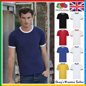 Mens Contrast Ringer T-Shirt • Fruit of the Loom Short Sleeve • Fast Delivery