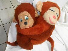 vintage plush Brown pair Tan monkey snap Hugging Loveable Boy Girl Set